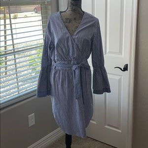 Blue and white striped lightweight dress